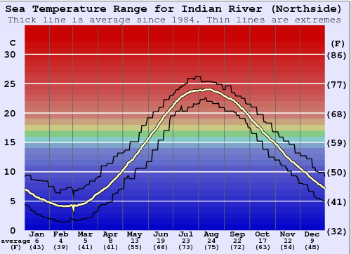 Indian River (Northside) Temperatura del mare Grafico