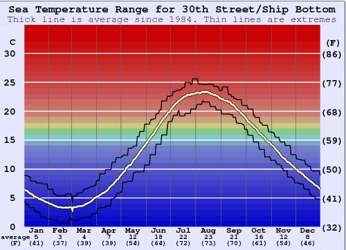 30th Street/Ship Bottom Temperatura del mare Grafico