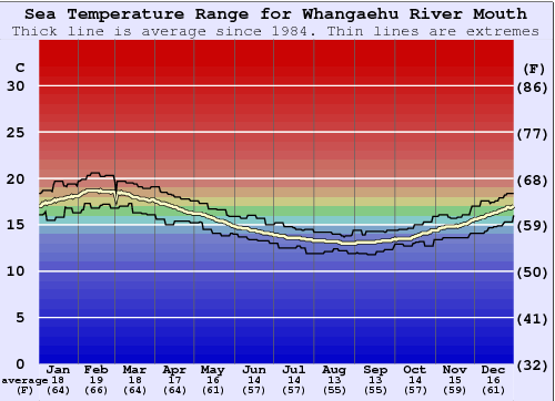 Whangaehu River Mouth Temperatura del mare Grafico