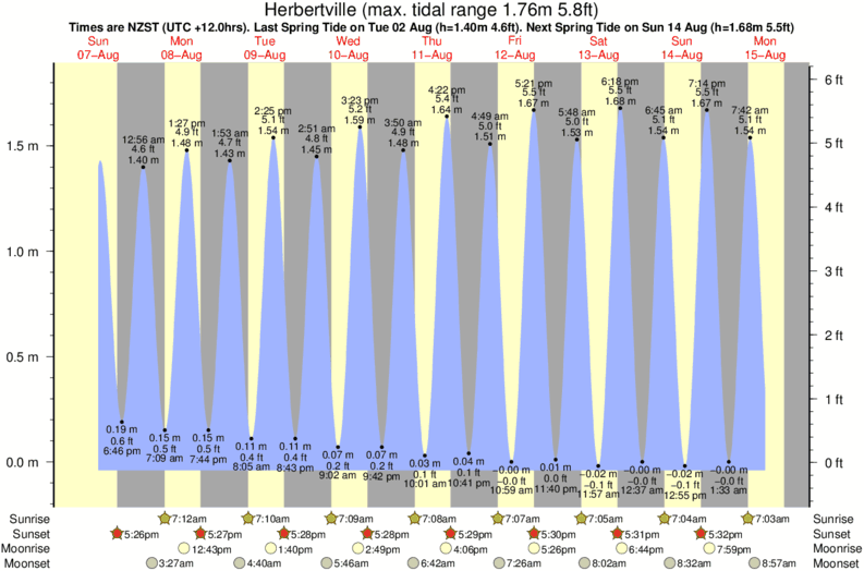 tide graph for Herbertville surf break